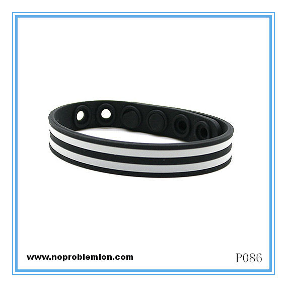 Grey Strip Noproblem Ion Balance Health Bracelet (P086)