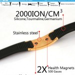 Stainless Steel Gold Plated 2000 negative ions Health Bracelet